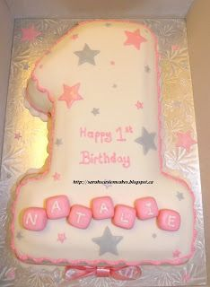 Sarah's Custom Cakes - Barrie & Innisfil: No 1 Cake - First Birthday (Girl with blocks)