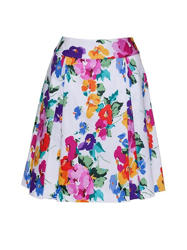 Review Australia | Antigua Bloom Skirt Multi - Colour: Multi Made from a gorgeous stretch sateen fabric in an exclusive vintage print with flattering box pleats, the Antigua Bloom Skirt is a perfect spring style. Length: 53cm approx.
