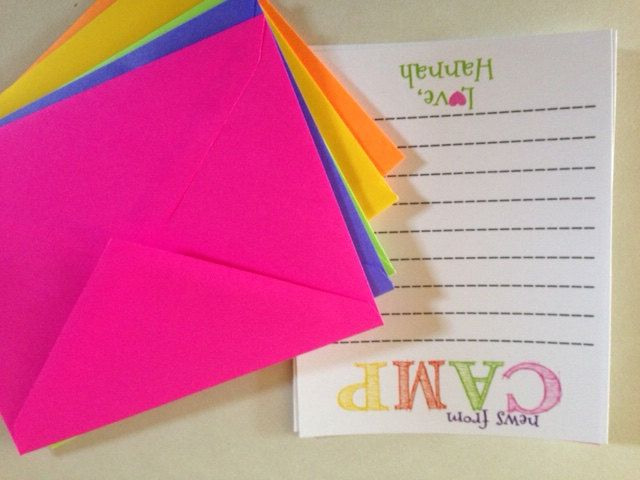 Personalized Kids Summer Camp Stationery Note Cards 10 Cards and 10 BRIGHT Matching Envelopes by PaisleyChickInks on Etsy https://www.etsy.com/listing/191789113/personalized-kids-summer-camp-stationery