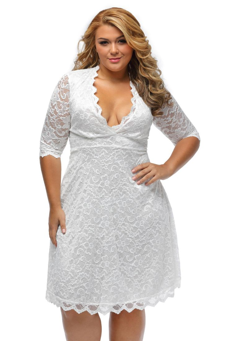 Robes Soiree Formelle Dentelle Grandes Tailles Blanche Mi Longue Femme Pas Cher www.modebuy.com @Modebuy #Modebuy #Blanc #femme #femmes #mode