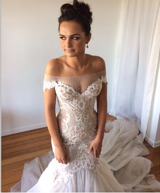 Cutwork Lace And Embroidery Bardot Wedding Dressdress