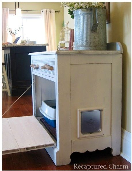If your cat can't be toilet trained and you don't like all the litter boxes out, then do a DIY and make a hidden litter box station. TIP: you will want a litter box on every level and a litter box for every cat. Don't make it a journey.