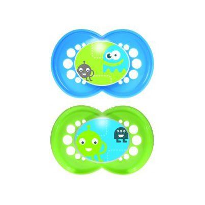 MAM - Chupete Original 6+m  Chupete de Silicona ultra suave (Pack doble) Este chupete es bueno para la piel gracias a amplios orificios de ventilación. Con tetina de silicona patentada, suave como la seda y tacto como la piel. La forma de la tetina es anatómicamente correcta para el desarrollo de la mandíbula y los dientes. Con caja esterilizadora para esterilizar 1-2 chupetes en el microondas en 3 minutos. Más información: www.mambaby.com