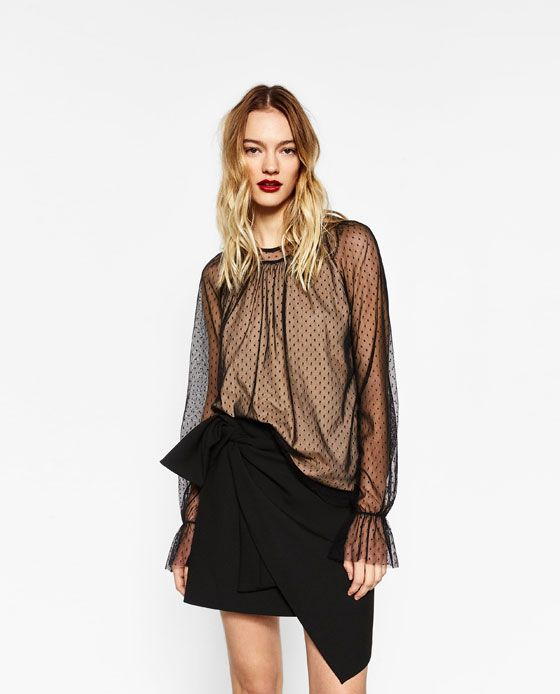 YELLOW T-SHIRT WITH FRILL HEM from Zara