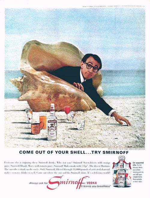 Vintage Smirnoff vodka advert - Woody Allen 'Come out of your shell...try Smirnoff'