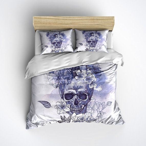 fleece skull bedding vintage look skull and flower print comforter cover sugar skull duvet