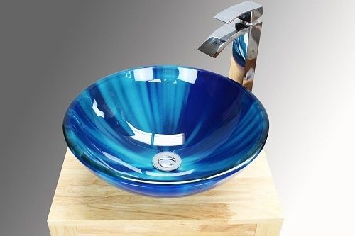 Modern Counter Top Around Small Blue Glass Hand Wash Cloakroom Basin / Sink