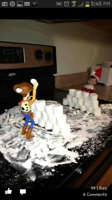 Elf on the shelf marshmallow idea with woody from toystory - snowball fight! See more elf ideas here ~ http://www.pinterest.com/sassydealz/elf-on-the-shelf-ideas/