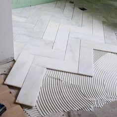 Entryway Cut Down Basic Tiles For This Herringbone Marble Tile