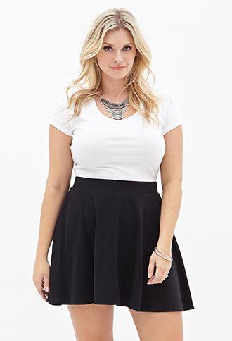 Solid Knit Skater Skirt   FOREVER21 PLUS - 2000084940