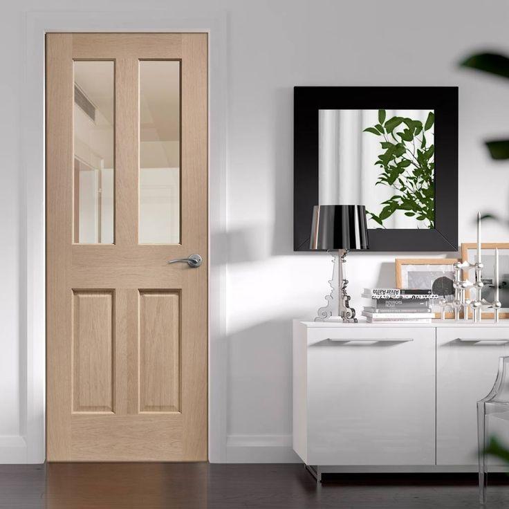 Bespoke Malton Oak Door, No Raised Mouldings with Clear Fire Glass - 1/2 Hour Fire Rated.    #bespokedoor #moderninteriordoor #newdoor #dooridea #interiordesitgn #door #doors#bespokefiredoor
