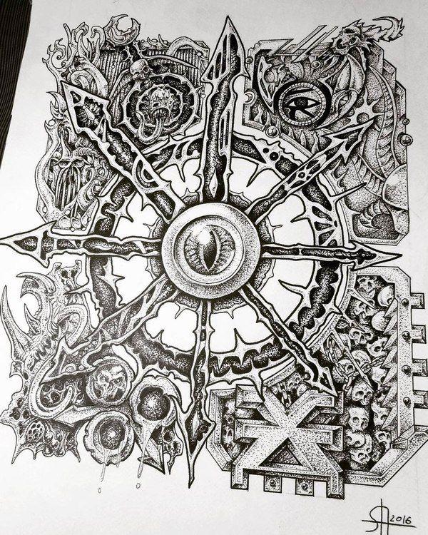 Хаос Неделимый  Chaos Undivided A3, линеры warhammer, Warhammer 40k, chaos, dotwork, Nurgle, Tzeentch, slaanesh, Кхорн, длиннопост