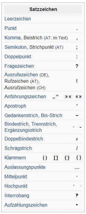 Satzzeichen - signos de puntuación / Vocabulario alemán para el certificado B1 (en tarjetas para recortar, con traducción español / alemán). https://www.facebook.com/groups/Vocabulario.aleman/