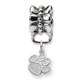 Sterling Silver Clemson University Small Tiger Paw Print Bead Charm