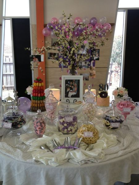A candy buffet is a sweet idea for 80th birthday party favors.  See more favor and party ideas at one-stop-party-ideas.com.