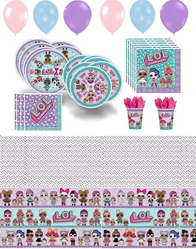 Lol Party Supplies Girl Birthday Decorations Cups Plates Napkins Balloons Table Cover