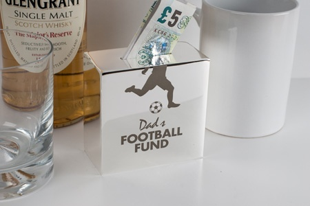 Personalised Silver Money Box - Football Fund