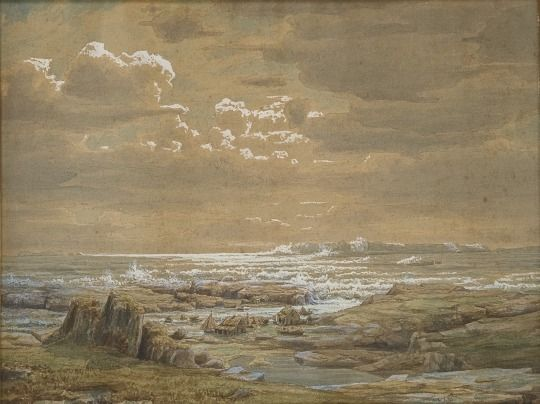 Lars Hertervig (Norwegian, 1830-1902) Kystlandskap ved Ryfylke (Coastal Landscape, Ryfylke), 1853 Aquarelle and gouache on paper
