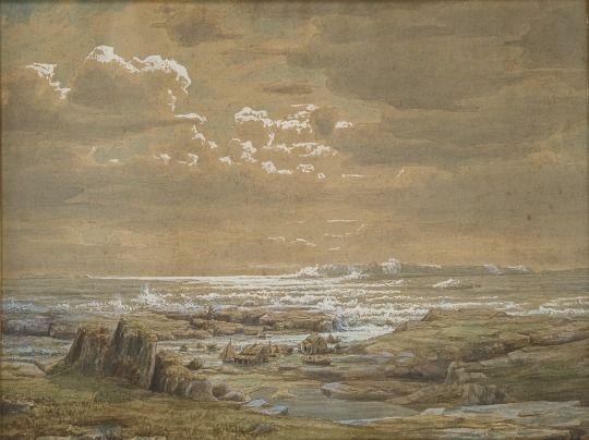Lars Hertervig (Norwegian, 1830-1902) Kystlandskap ved Ryfylke (Coastal…