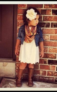Brown boots, simple dress, denim, and an awesome scarf make an adorable fall outfit for a little girl.