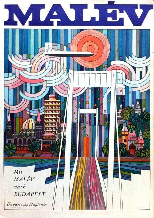 Malév •Budapest • Hungary _________________________ #Vintage #Travel #Poster