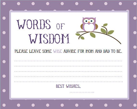 Purple, Owl Baby Shower words of wisdom cards