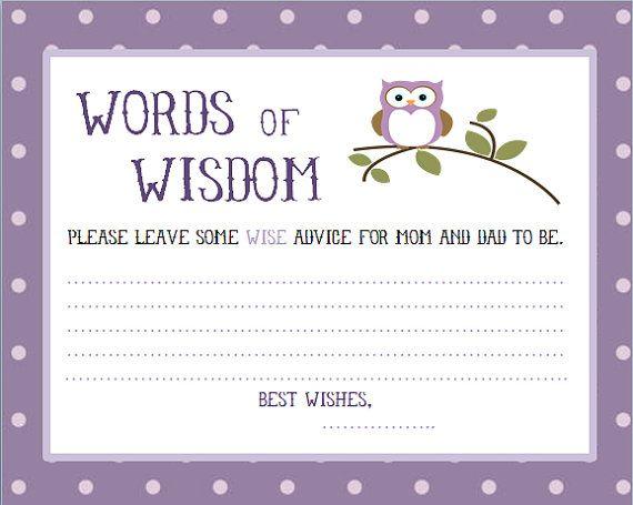 Purple, Owl Baby Shower words of wisdom cards