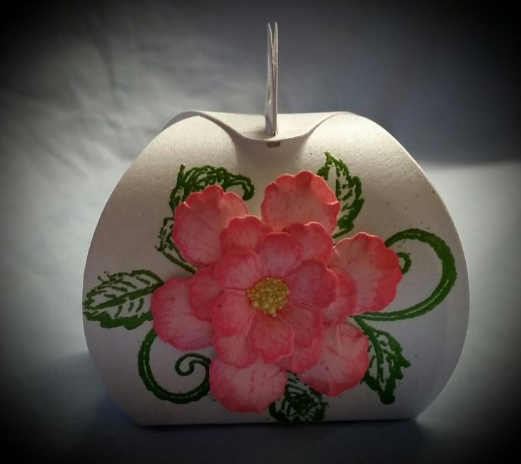Curvy box decorated with hearfelt creations botanical rose...the perfect box to hold a present for a little girl