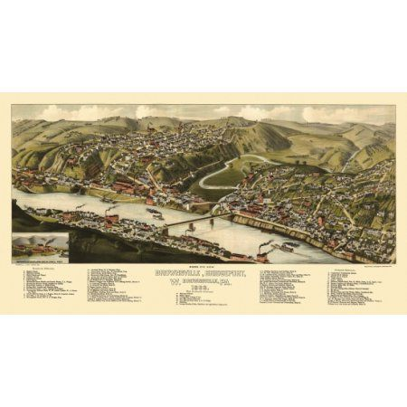 Historic Map of Brownsville Pennsylvania 1883 Montgomery County Canvas Art - (36 x 54)