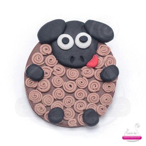 Polymer clay black sheep magnet