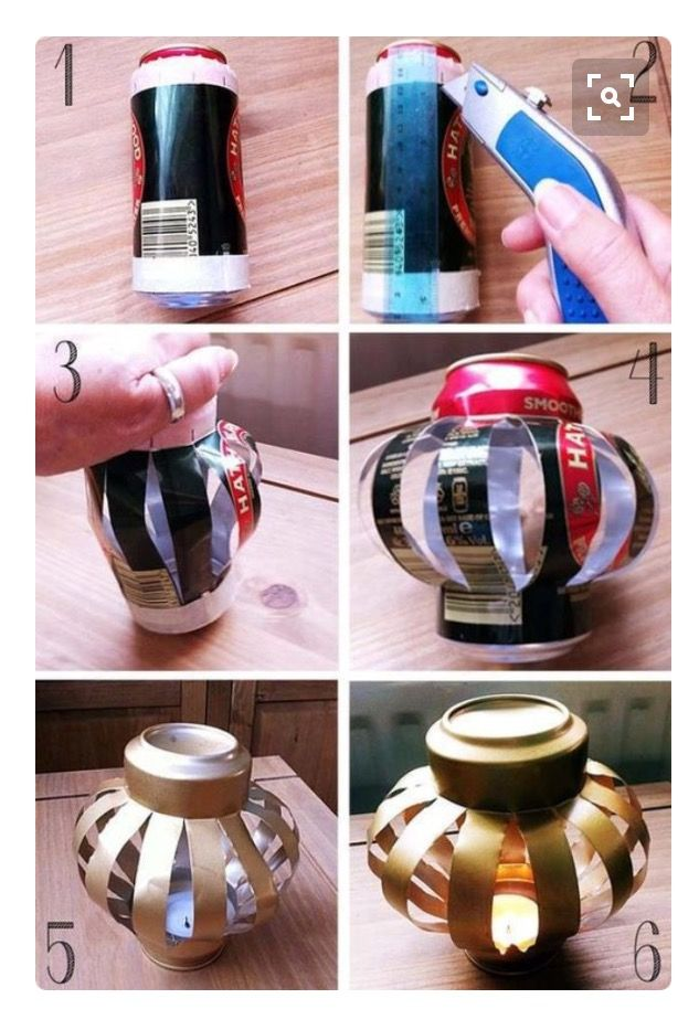 Tin can spray painted turned into a lantern with tea light