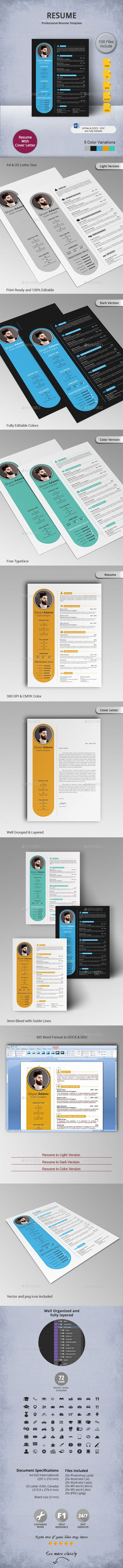 #Resume - Resumes #Stationery Download here: https://graphicriver.net/item/resume/11119597?ref=artgallery8