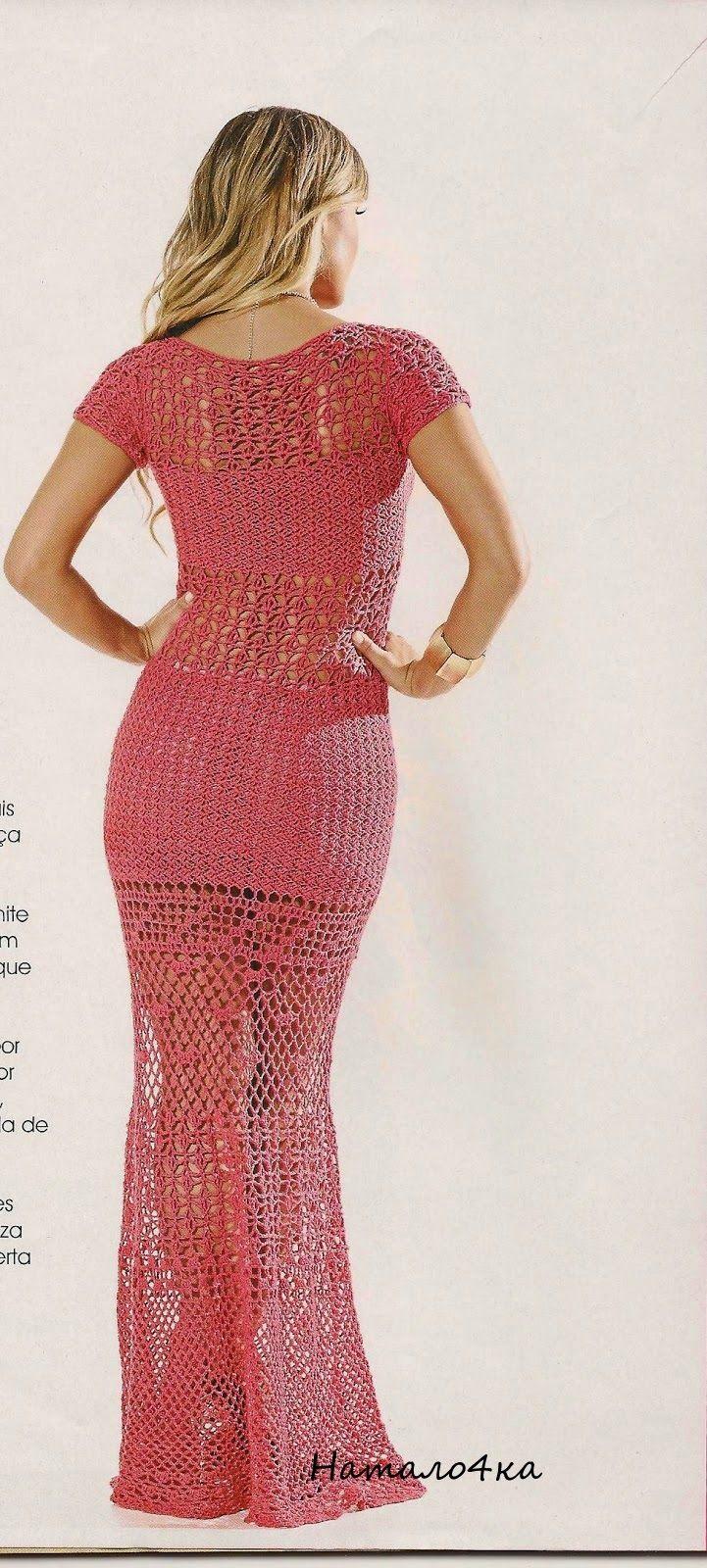 CROCHE DA ANJINHA: vestido longo em croche com gráfico,lindo!