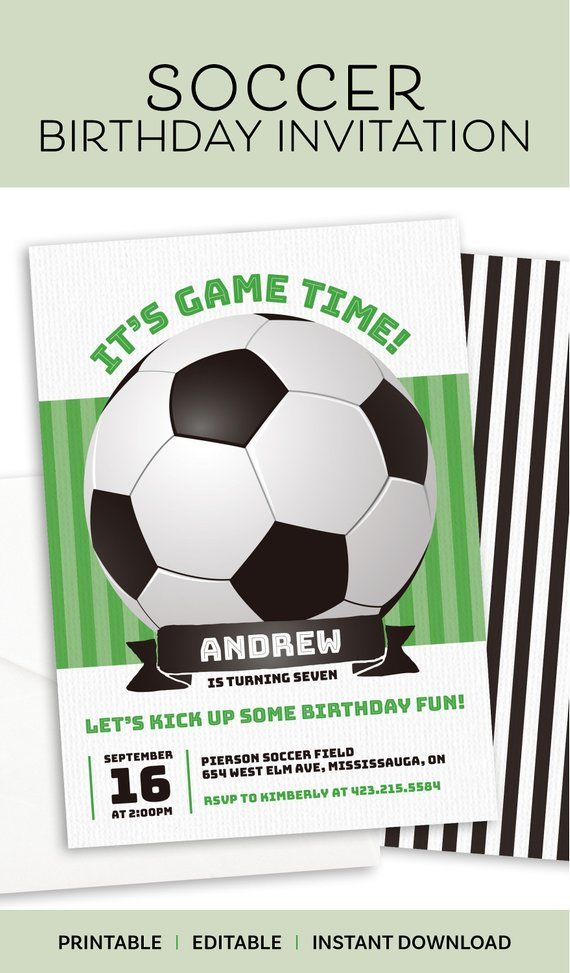 Soccer Invitation Printable Instant Download File / Soccer ...