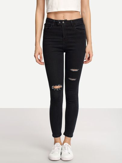 25  best ideas about Ripped black skinny jeans on Pinterest ...