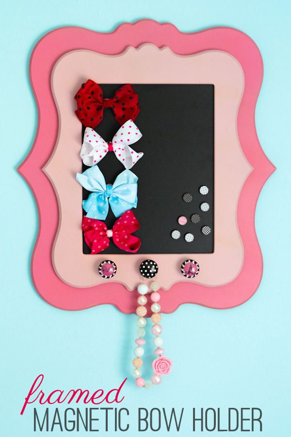 Adorable Framed Magnetic Bow Holder tutorial on { lilluna.com }: Bows Holders, Good Ideas, Daughters Rooms, Tutorials Girlsroomdecor, Magnets Bows, Collection Accesories, Girlsroomdecor Diy, Adorable Frames, Girls Rooms