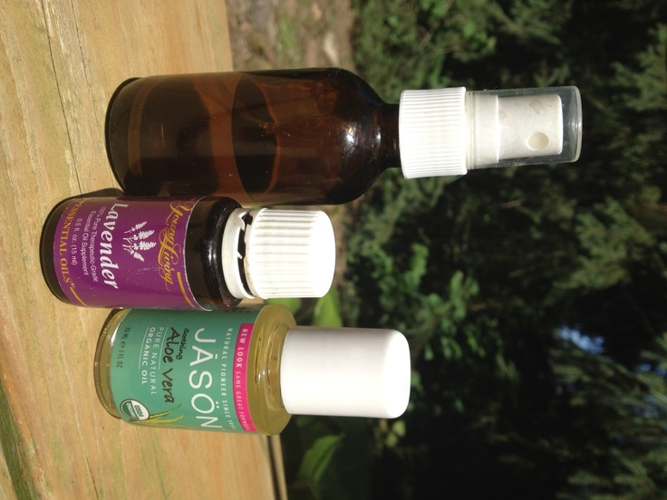 After Sun Spray  I make my own after sun spray.  It takes the red out and relieves discomfort.  It smells great and makes your skin so soft!    In a 4oz. glass spray bottle, add about 1 oz. aloe vera oil and 12 drops of Young Living Lavender Essential Oil, fill the remainder of the bottle with purified water.   Spray onto skin and enjoy! Shake well before each use.