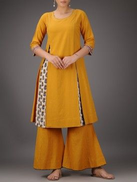 Mustard Pleated Cotton Kurta with Mukaish                                                                                                                                                     More