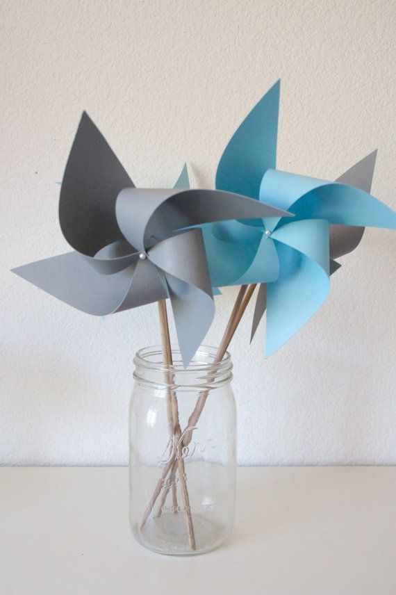 Airplane Party Airplane favors Pinwheels 12 Mini Pinwheels Blue and Grey Airplanes (Custom orders welcomed)