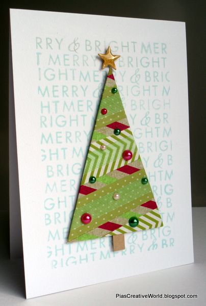 Christmas card made using Washi Tape to make the tree. The background is stamped multiple times with a stamp from Hero Arts. CAS card.