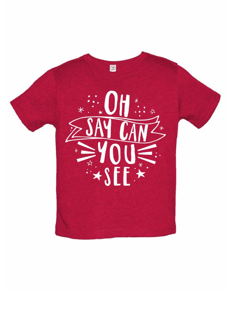 These adorable Oh Say Can You See t-shirts are so perfect for your litter patriot! This amazing gold graphic is processionally screened onto a heathered red t-shirt. Available as a vintage style super