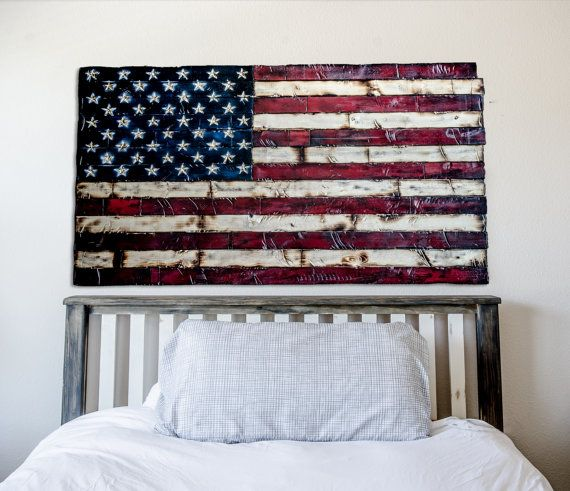 American Flag Painted And Burned Wood With Hand By