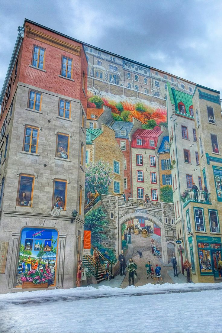 The Petit-Champlain district in Quebec City's historic centre is full of charming laneways and shops, along with murals like this one.