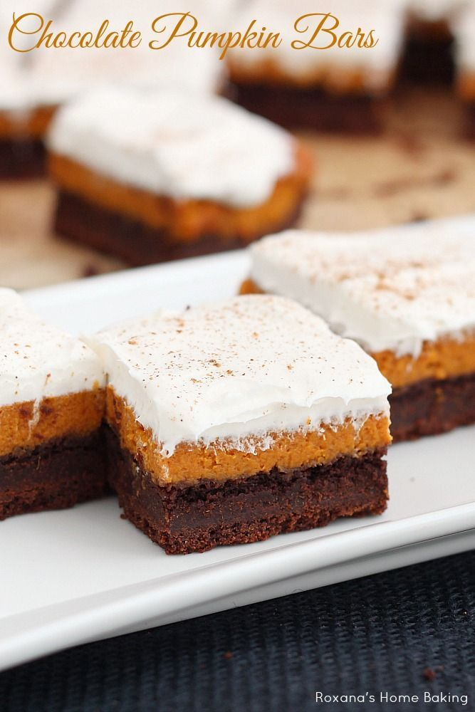 Perfect for fall potlucks, these chocolate pumpkin bars feature layers or rich chocolate cake, silky pumpkin pie and light frosting