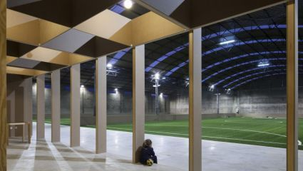 conversion of industry pavilion into football stadium in Portugal, studio COMOCO architects: Luís Miguel Correia, Nelson Mota, Susana Constantino