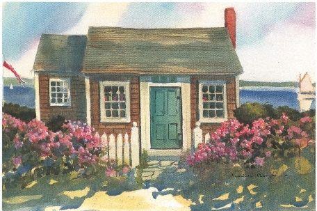 Cape cod beach cottage cape cod watercolor prints the for Watercolor cottages