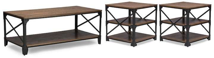 Baxton Studio Grayson Industrial Coffee Table & End Table 3-piece Set