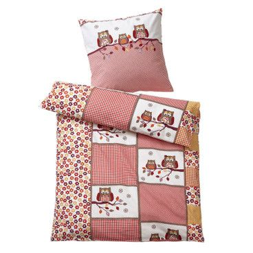 Bio-Renforcé-beddengoed-set, 2-dlg, rood-bont