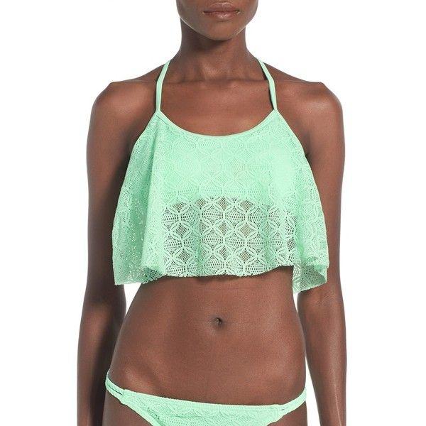 Gossip Girl 'Medallion Crochet' Flounce Bikini Top (€35) ❤ liked on Polyvore featuring swimwear, bikinis, bikini tops, peppermint, crochet bikini, crochet flounce bikini, macrame bikini, swimsuit tops and crochet flounce bikini top