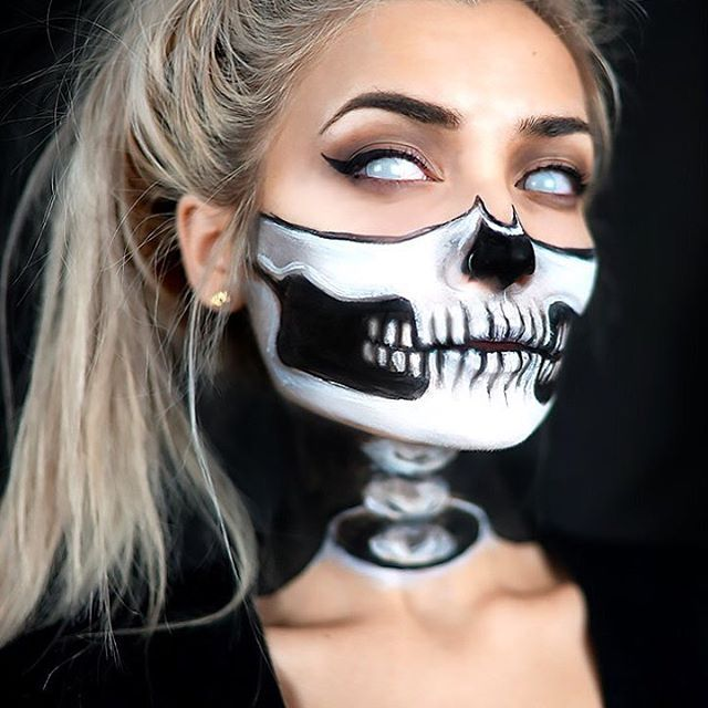 ** 1/2-Skull w/ Exposed Neck Halloween Makeup Tutorial! (by Instagram User: Roxxsaurus) ** -- Link to Full YouTube Tutorial = https://www.youtube.com/channel/UCBKFH7bU2ebvO68FtuGjyyw (or Click on Hyperlink in Her Instagram Profile for Redirect to ALL YouTube Video Tut's!) -- Link to Her Instagram Wall = https://www.instagram.com/roxxsaurus/ (1,084 Posts!)